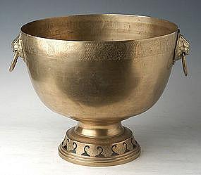 Large 19th Century Chinese Brass Stem Ritual Bowl