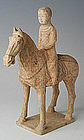 Tang Dynasty, Chinese Pottery Court Lady on Horse