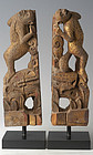 19th Century, A pair of Chinese Wooden Monkeys