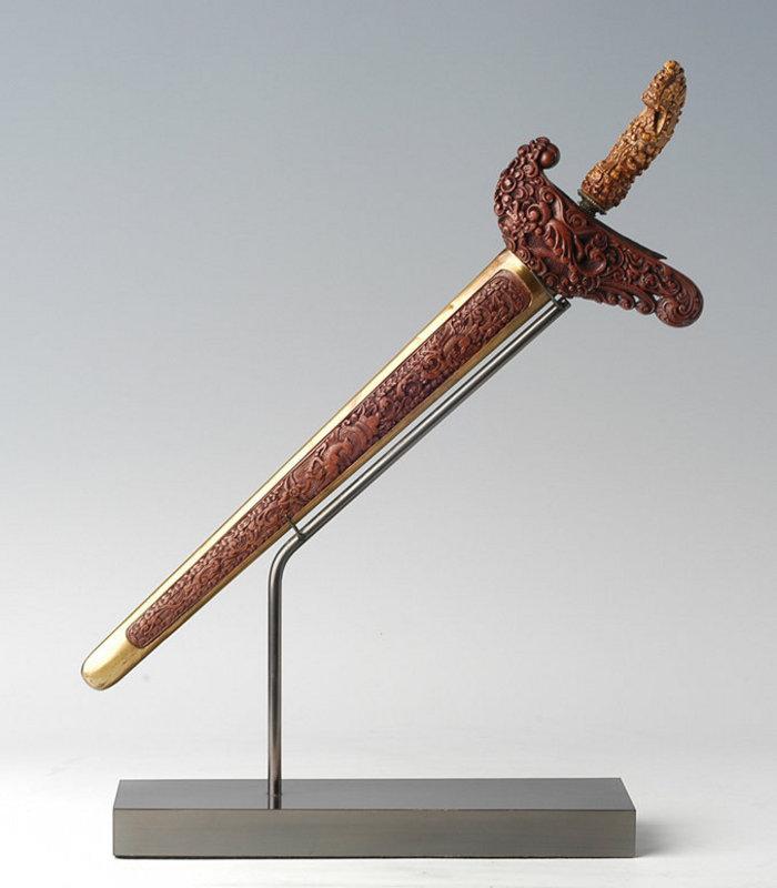 An Indonesian Ritual Dagger Keris with Ivory Hilt