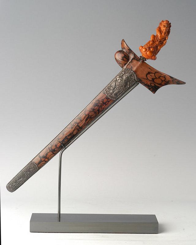 An Indonesian Ritual Dagger Keris with Ivory Ganesha