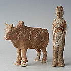 Northern Wei Dynasty, Chinese Painted Pottery Man & Ox