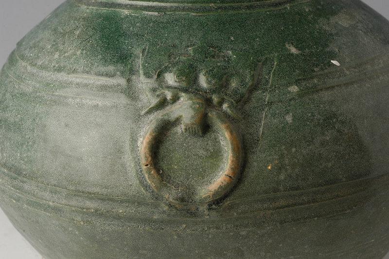 Han Dynasty, Chinese Pottery Hu Jar with Green Glaze