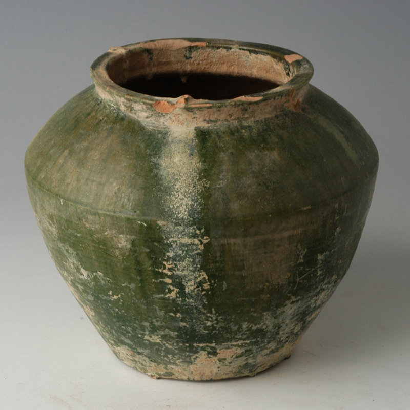 Han Dynasty, Chinese Pottery Green Glazed Jar