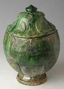 Yuan Dynasty, Chinese Pottery Green Glazed Jar