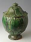 Yuan Dynasty, Chinese Pottery Green Glazed Jar