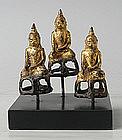 A Set of Three Burmese Bronze Buddhas