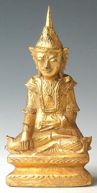 19th Century, Mandalay, Burmese Wooden Seated Crowned Buddha