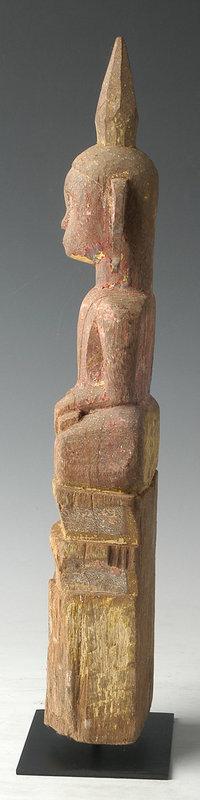 19th Century, Laos Wooden Sitting Buddha