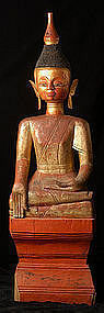 17th C., RARE & Large Burmese Tai Rue Wooden Buddha