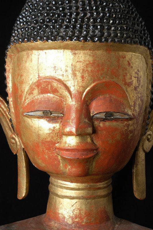 17th Century, RARE & Large Tai Lue Burmese Wooden Seated Buddha