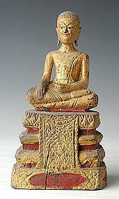 19th Century, Rare Thai Wooden Sitting Disciple