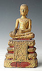 19th Century, Rare Thai Wooden Seated Disciple