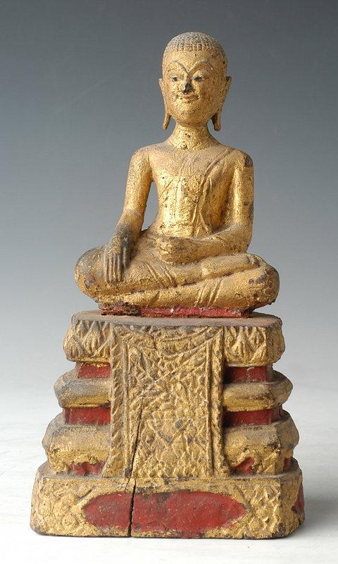 19th Century, Rare Thai Wooden Seated Disciple