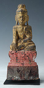 19th Century, Tai Yai Burmese Wooden Seated Buddha