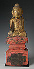 19th Century, Rare Tai Yai Burmese Wooden Seated Buddha