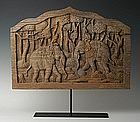 19th Century, Thai Wooden Elephants Carved on Both Sides