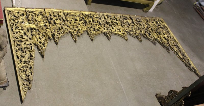 18th C., Very Large Burmese Gilded Gold Wooden Carving