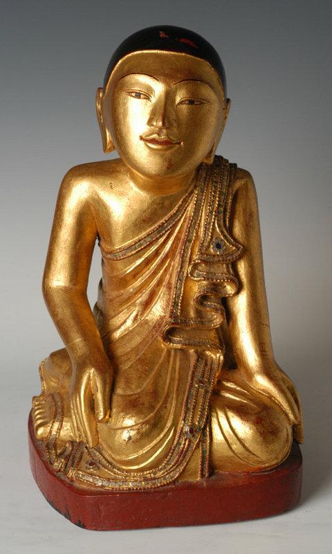 19th Century, Mandalay, Burmese Wooden Seated Disciple