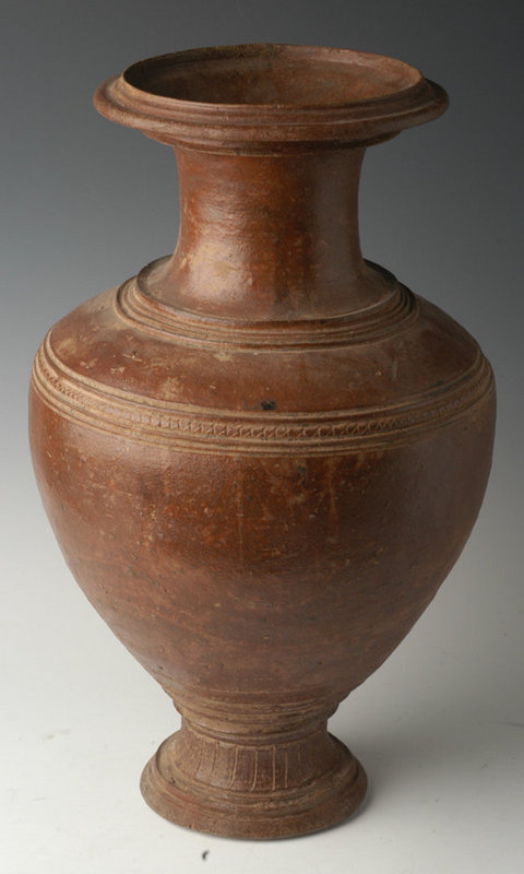 12th C., Large & Rare Khmer Brown Glazed Pottery Jar