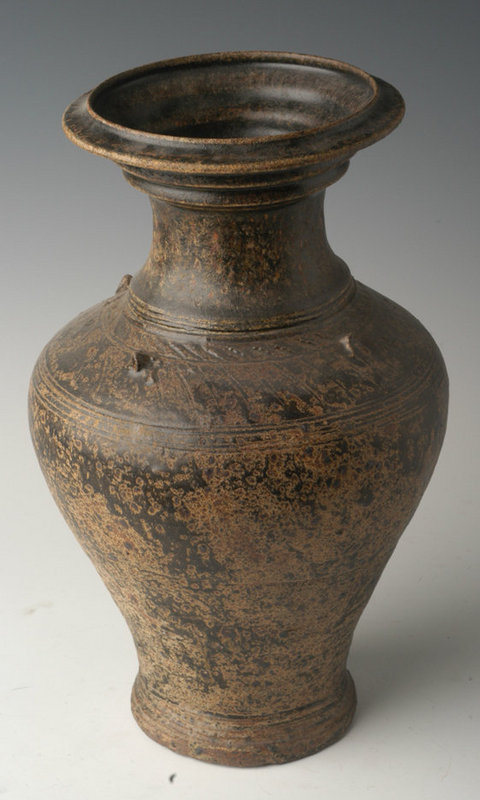12th Century, Khmer Brown Glazed Pottery Jar