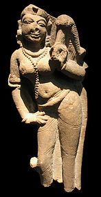Indian carved sandstone relief fragment. 10th-12th c.