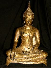 A gilt bronze figure of Buddha. Ayuthia, 17th century.