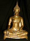 A gilt bronze figure of Buddha. Ayuthia, 17th century.
