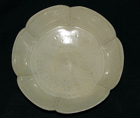 A Qingbai fluted saucer. Song/Yuan dynasty.