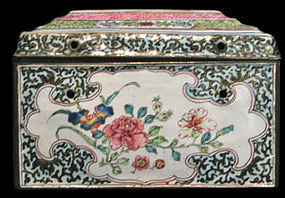 A Canton enamel box and cover. Qianlong period.