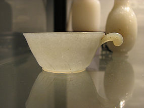 A small Mughal-style jadeite cup. 18th century.