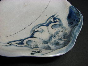 A rare early Imari moulded small shaped dish.