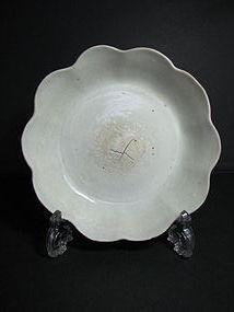 A rare foliate dish of qingbai or shufu type.