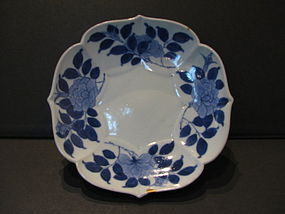 A Nabeshima blue and white lobed dish.