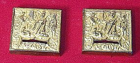 A pair of Chinese gilt bronze Liao appliques.10th c.AD.