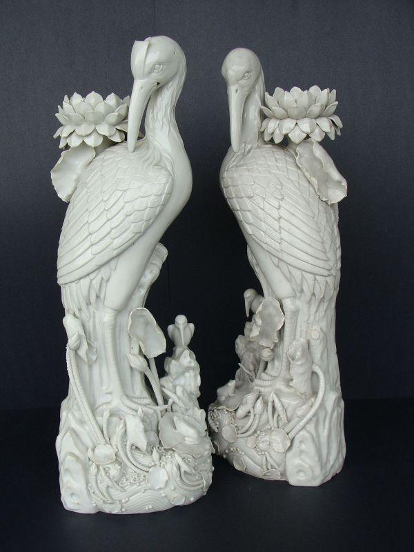 Blanc de Chine Antique Heron Candlesticks