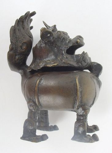 Bronze Buddhist Lion Censer