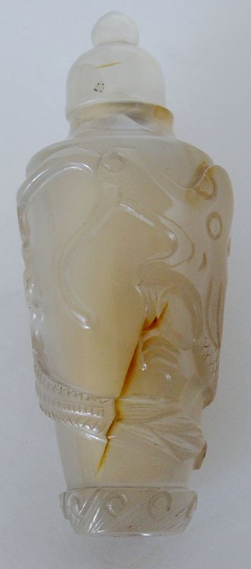 Carved Chalcedony Snuff Bottle with Stopper