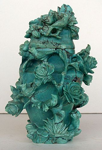 Turquoise Stone Urn and Cover