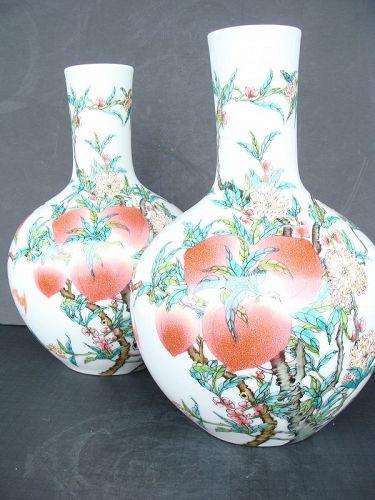 Famille Rose Nine Peach Vases