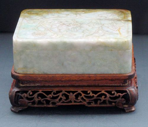 Jade Covered Box with Wood Base