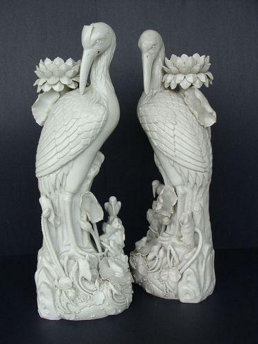Blanc de Chine Heron Candlesticks