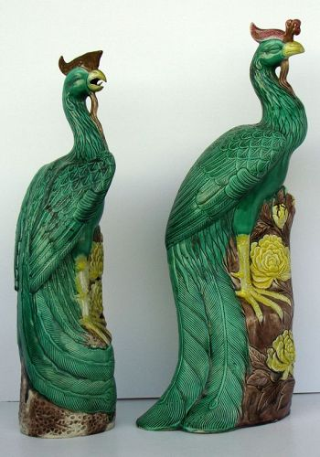 Pair of Sancai Glazed Pheonix