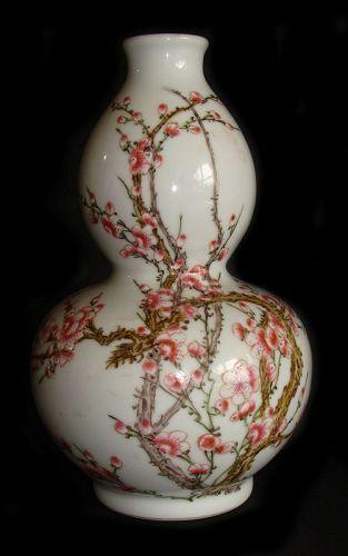 Famille Rose Prunus Vase