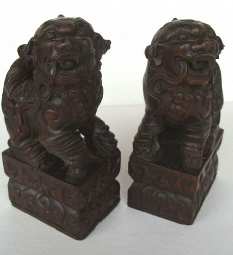 Wooden Buddhist Lions (Pair)