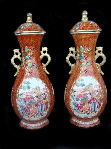 """Famille Rose """"Mandarin"""" Vases (Pair)"""