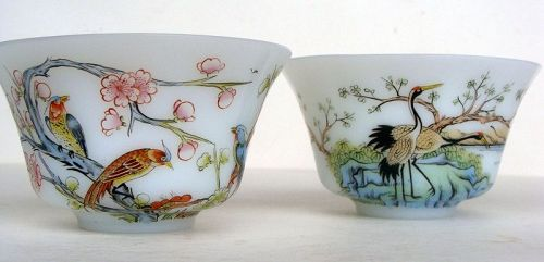 Chinese Peking Glass Tea Bowls (Pair)