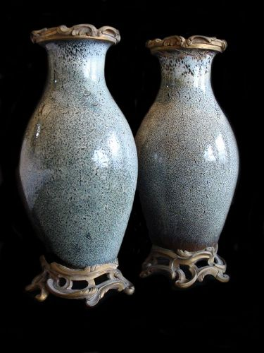 Chinese Shiwan Jun Blue Glaze Vases (Pair)
