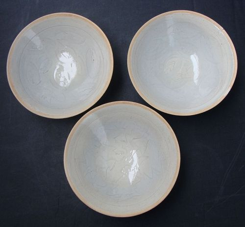 Chinese Qingbai Glaze Bowls (Three)
