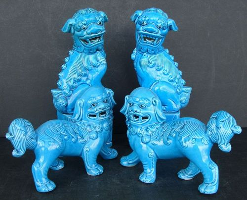 Chinese Turquoise Glazed Foo Dogs